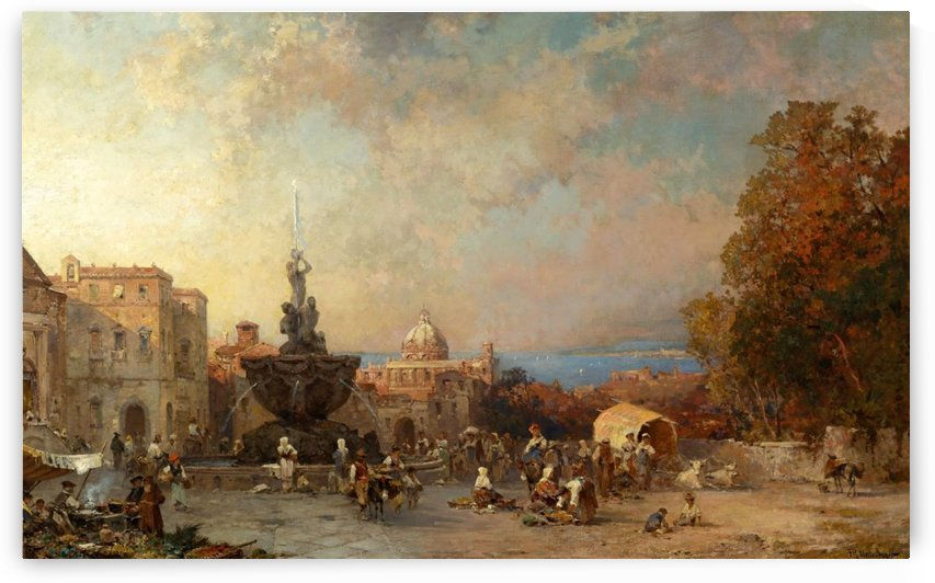 People in the main square by Franz Richard Unterberger