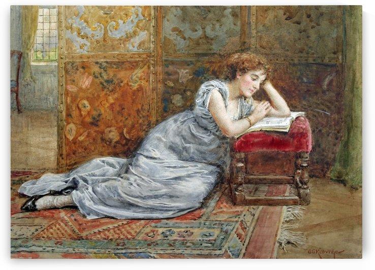 A woman reading by George Goodwin Kilburne
