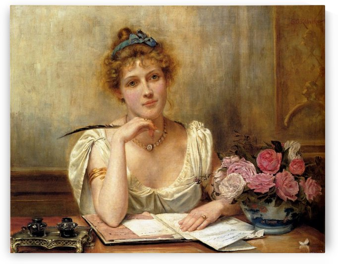 A young lady writing by George Goodwin Kilburne