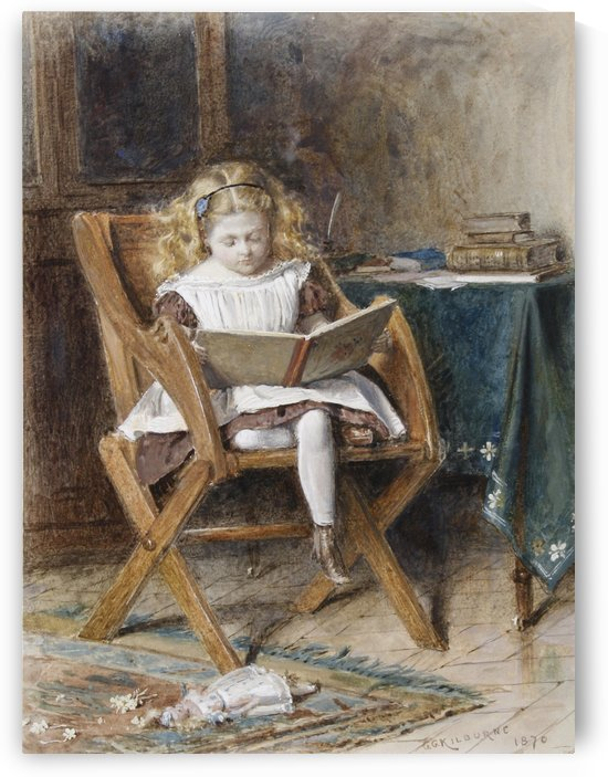 A young girl reading by George Goodwin Kilburne