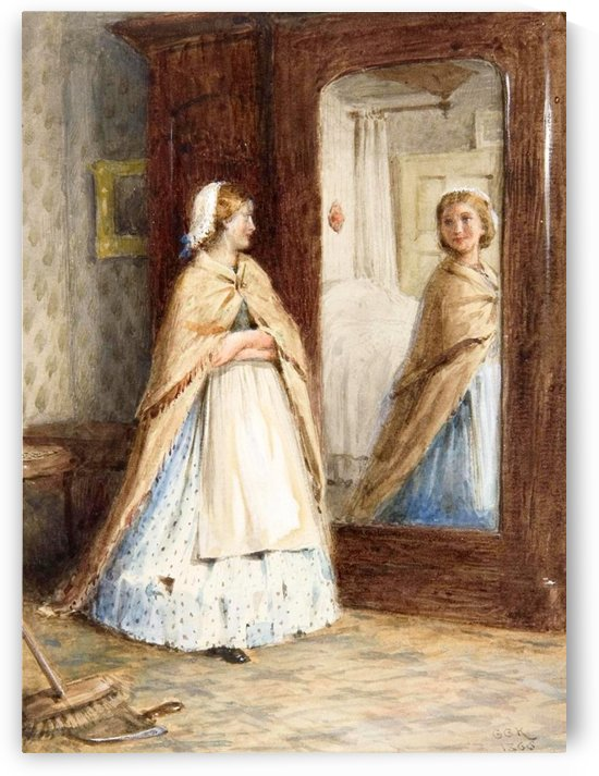 A young girl looking in the mirror by George Goodwin Kilburne