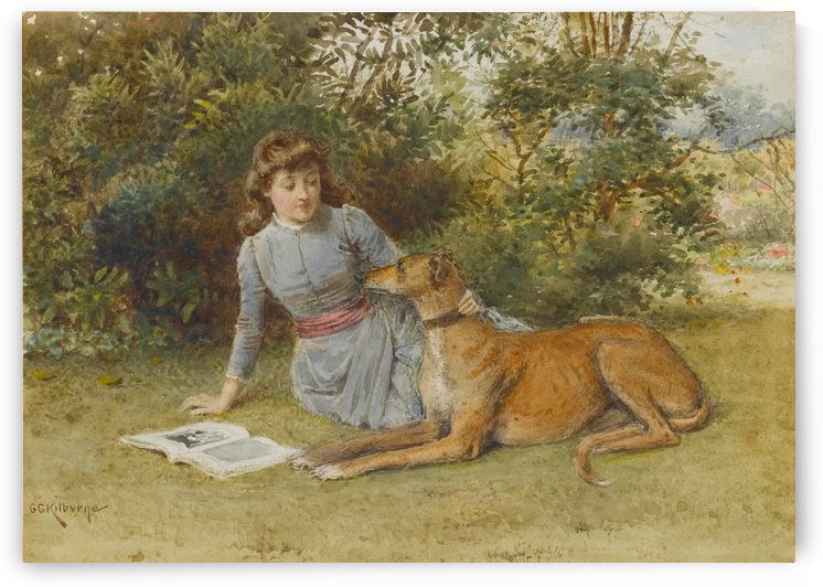 A girl with her dog by George Goodwin Kilburne