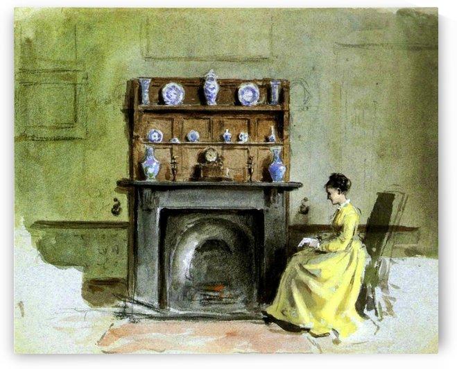 Lady by a fireplace by George Goodwin Kilburne