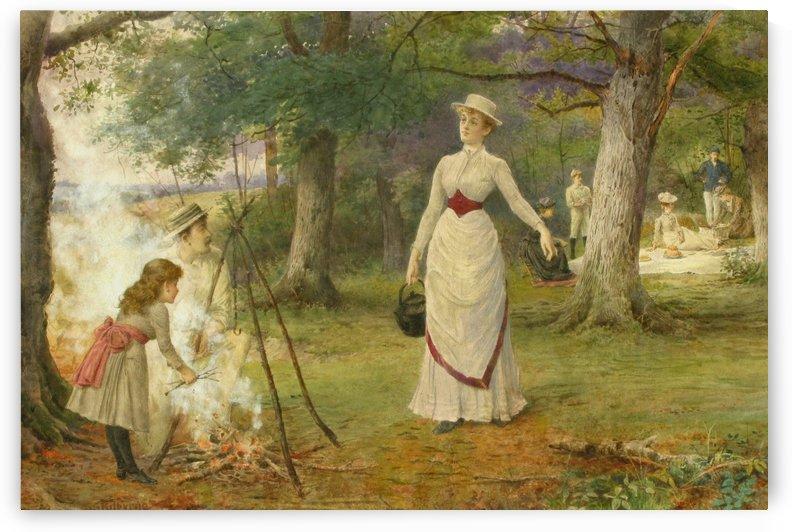 Making tea at a picnic by George Goodwin Kilburne