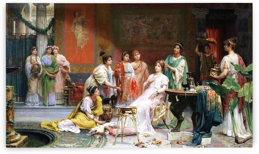 Tocador de una matrona romana by Juan Gimenez Martin