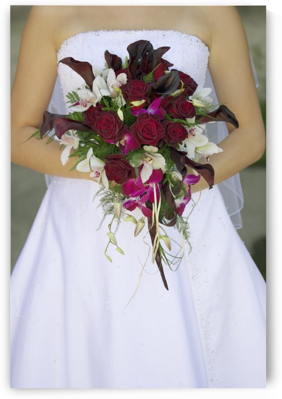 Bride's Bouquet And Wedding Dress by PacificStock
