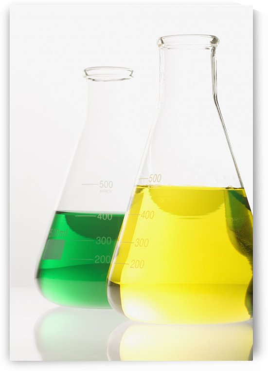 Two Glass Flasks With Colored Solutions by PacificStock