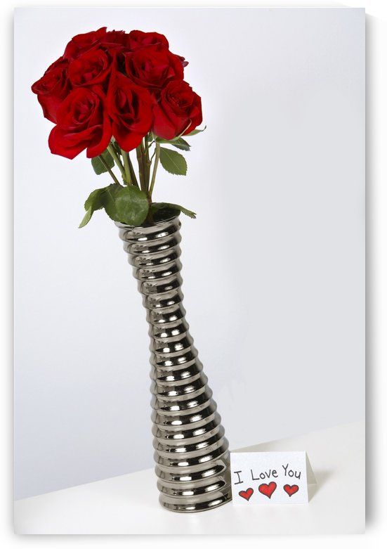 I Love You Card With Roses In A Vase by PacificStock