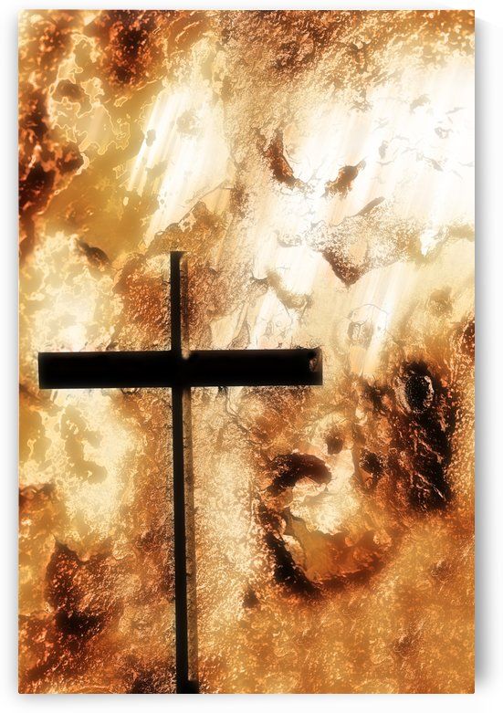 A Cross With An Orange Rough Background by PacificStock