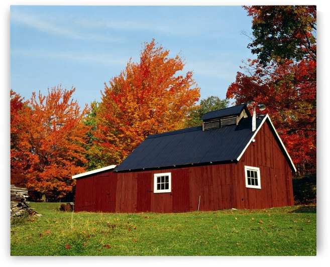 Sugar House With Fall Trees by PacificStock