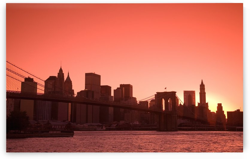 Lower Manhattan Skyline Viewed From Brooklyn Bridge Park, Brooklyn, New York City, New York, Usa by PacificStock
