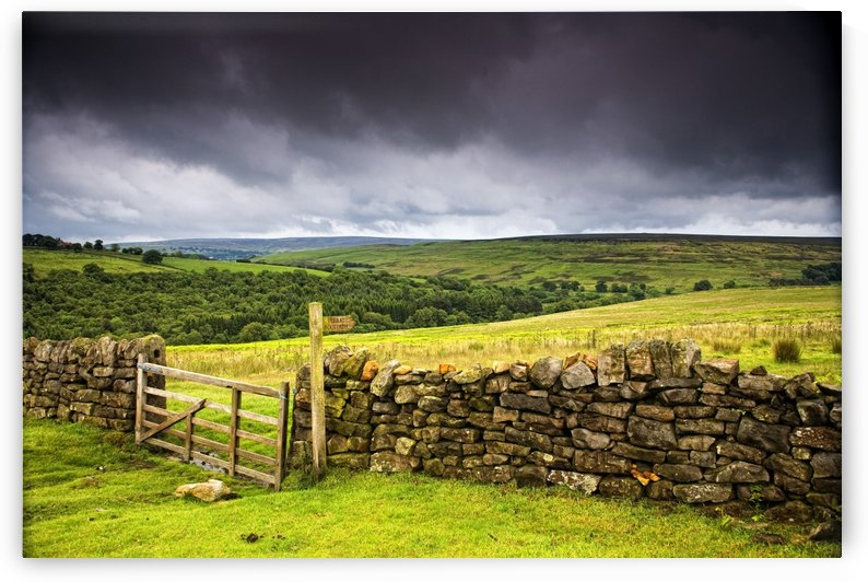 Stone Fence, Yorkshire, England by PacificStock