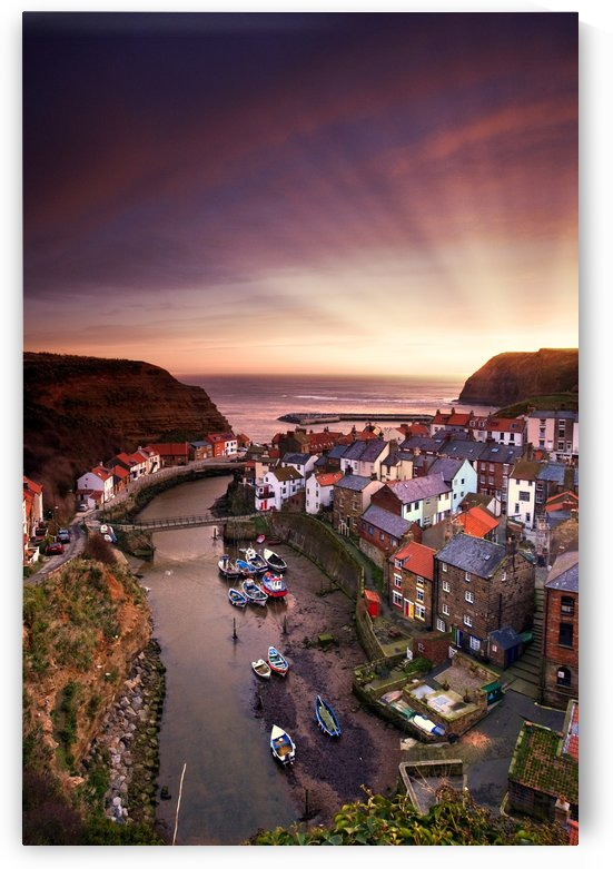 Cityscape At Sunset, Staithes, Yorkshire, England by PacificStock