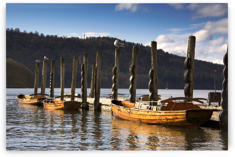 Boats Docked On A Pier, Keswick, Cumbria, England by PacificStock