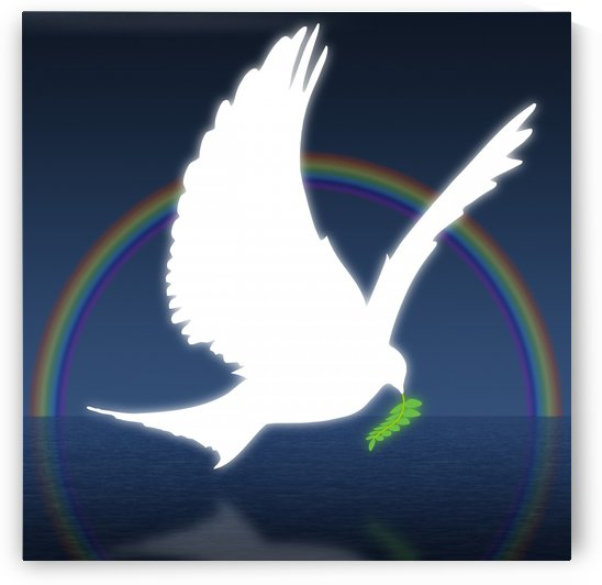 Dove Holding An Olive Branch With Rainbow In Background by PacificStock
