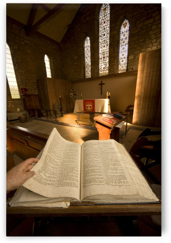 Open Bible In The Chapel by PacificStock