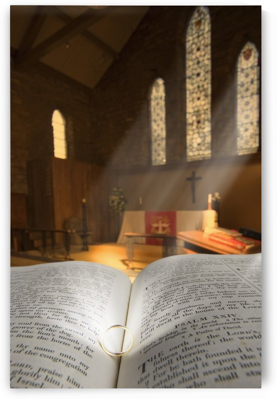 Bible With A Ring In Church Sanctuary by PacificStock