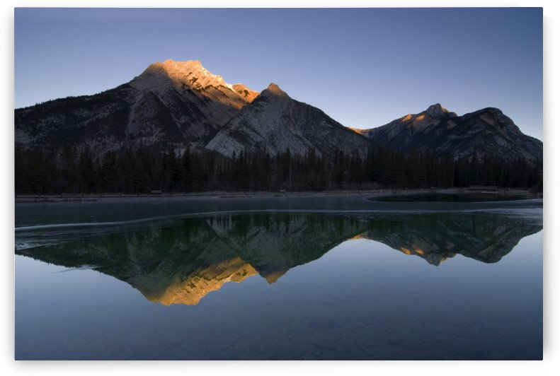 Mirror Image Of A Mountain In Water, Mount Lorette, Kananaskis, Alberta, Canada by PacificStock