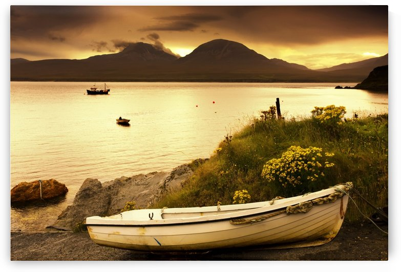 Boat On The Shore At Sunset, Island Of Islay, Scotland by PacificStock