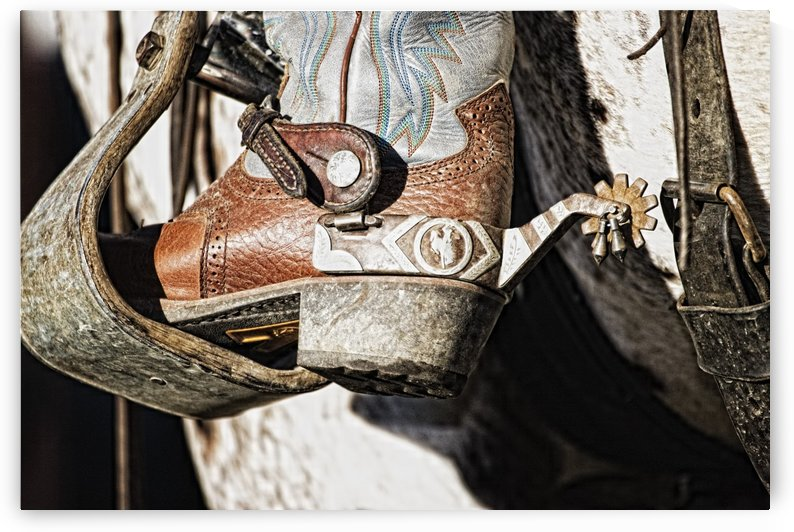 Cowboy Boot Heel And Spur In Saddle Stirrup by PacificStock