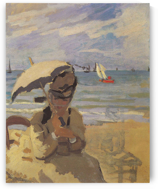 Camille Monet on the beach at Trouville by Monet by Monet