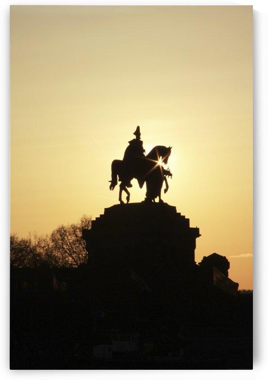 Silhouette Of Statue Of Kaiser Wilhelm I; Koblenz, Rheinland Pfalz, Germany by PacificStock