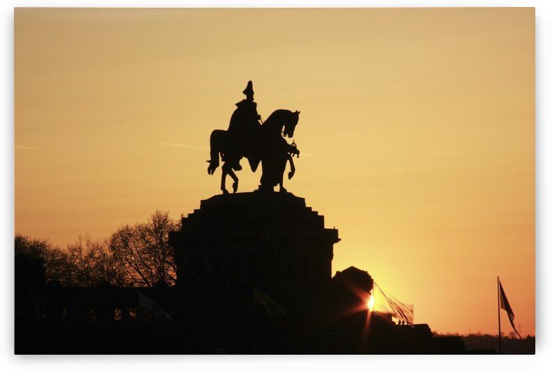 Silhouette Of Statue Of Kaiser Wilhelm I, Koblenz, Rheinland Pfalz, Germany by PacificStock