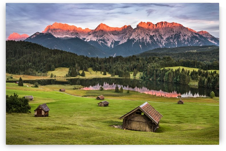 Alpenglow at a Lake in Bavaria by Andreas Wonisch