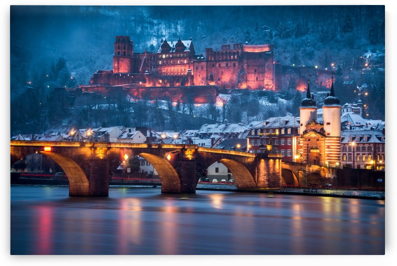 Heidelberg Castle and Old Brige in Winter by Andreas Wonisch
