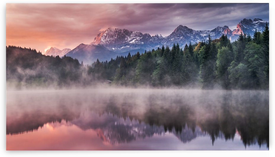 Sunrise at a Lake with Alps in the Background by Andreas Wonisch