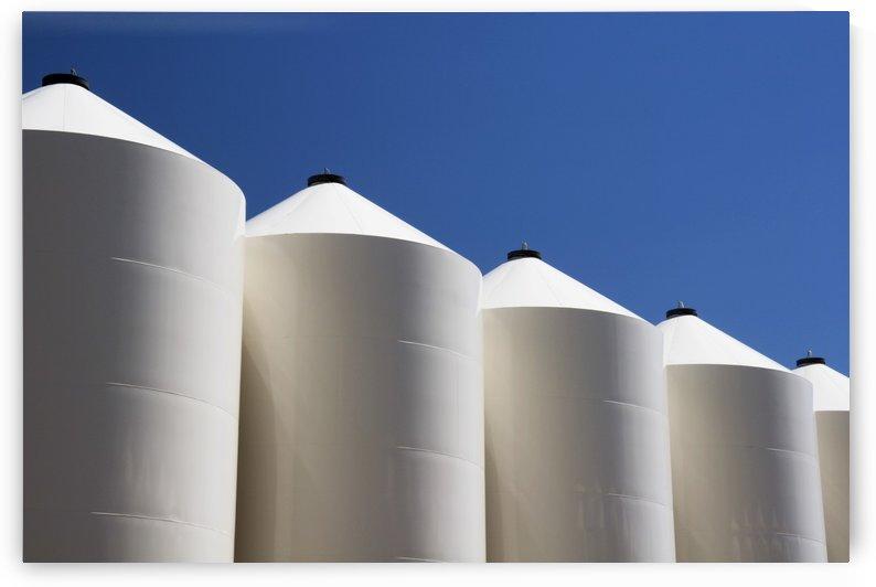 Alberta, Canada; Large White Metal Grain Bins by PacificStock