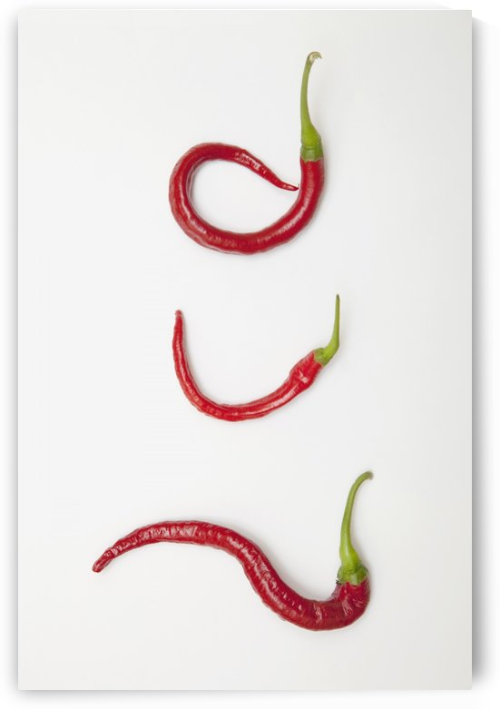 Three Red Jalapeno Peppers Curled Into Unique Shapes by PacificStock