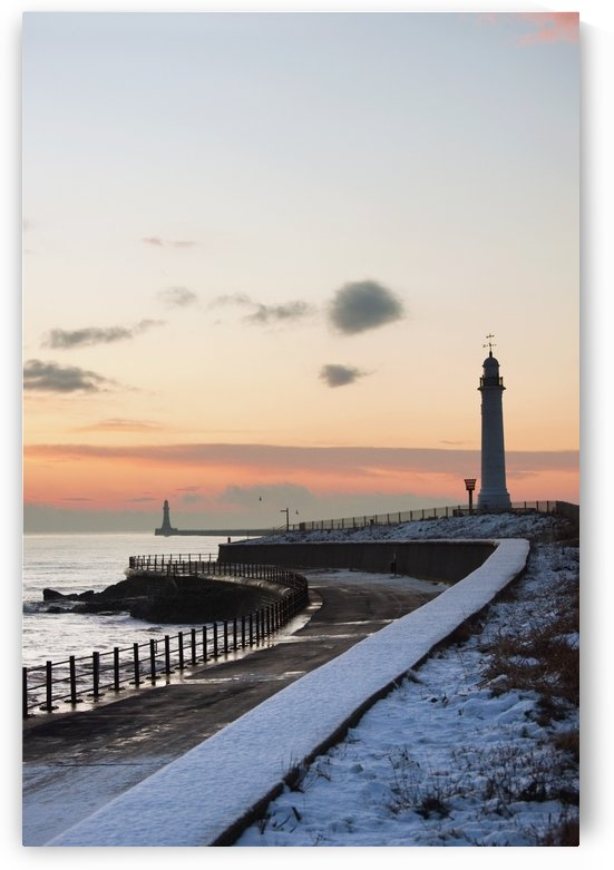 Sunderland, Tyne And Wear, England; A Path And Lighthouse Along The Coast by PacificStock