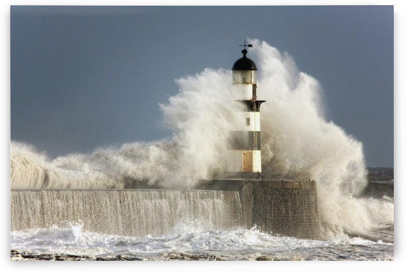 Seaham, Teesside, England; Waves Crashing Into A Lighthouse by PacificStock