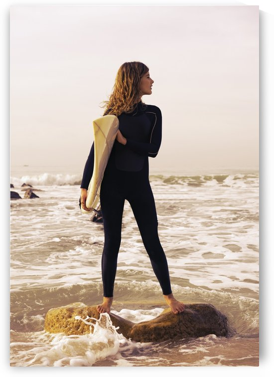 Young Woman With Her Surfboard; Tarifa, Cadiz, Andalusia, Spain by PacificStock