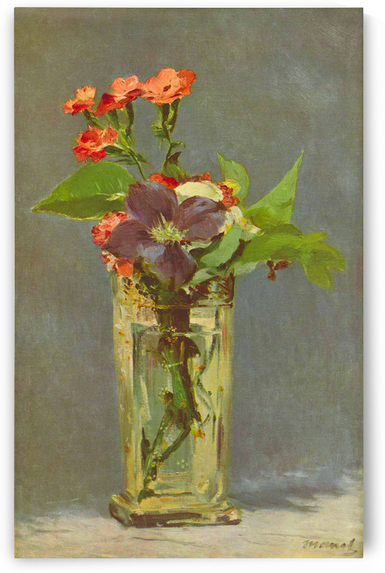 Carnations and Clematis in a Crystal Vase by Edouard_Manet by Edouard Manet