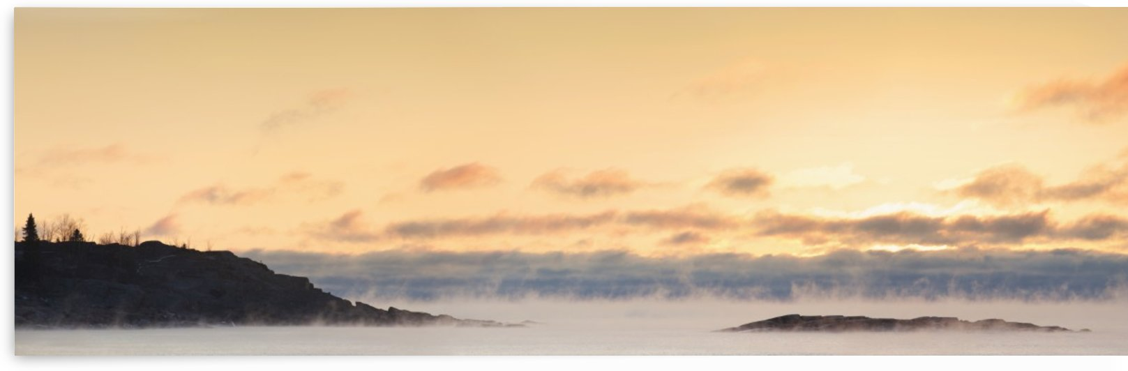 Winter Mist On Lake Superior At Sunrise; Terrace Bay, Ontario, Canada by PacificStock