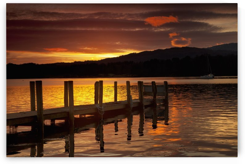 Sunset Over Dock At Lake Windermere; Ambleside, Cumbria, England by PacificStock