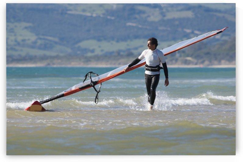 Windsurfer Carrying Surfboard; Los Lances Beach Tarifa Spain by PacificStock