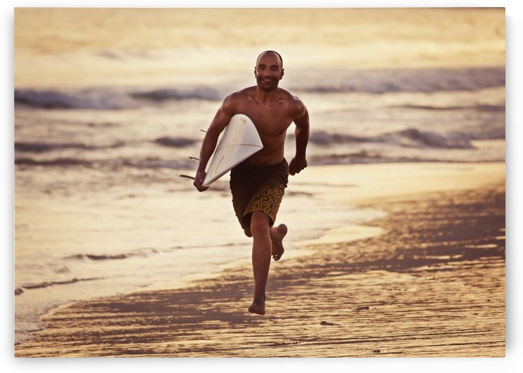 A Man Runs On The Wet Beach At Sunset With His Surfboard; Tarifa, Cadiz, Andalusia, Spain by PacificStock