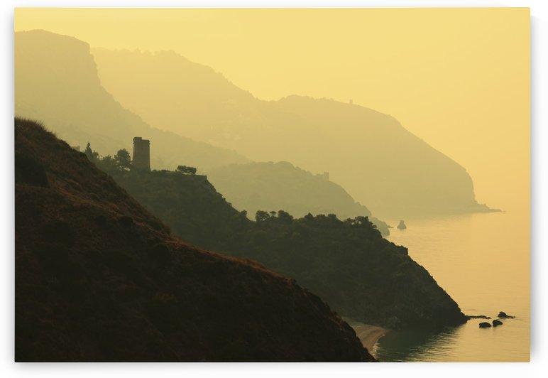 Watch Towers On The Maro-Cerro Gordo Cliffs, Between Maro In Malaga Province And La Herradura; Granada Province, Spain by PacificStock