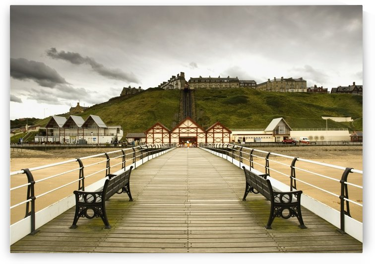 Benches Along A Pier; Saltburn, Cleveland, England by PacificStock