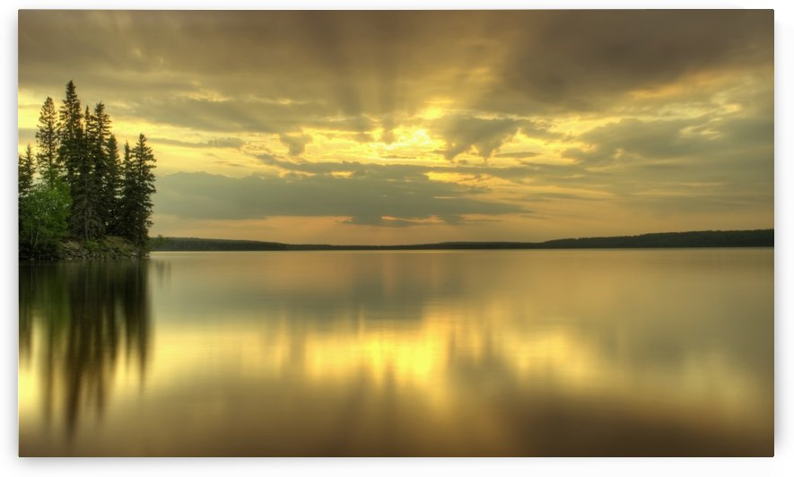 Colourful Sunrise On Waskesiu Lake In Prince Albert National Park; Saskatchewan, Canada by PacificStock
