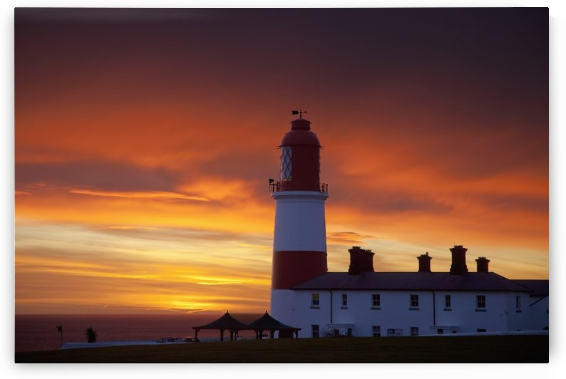 A Lighthouse At Sunset; Whitburn, Tyne And Wear, England by PacificStock