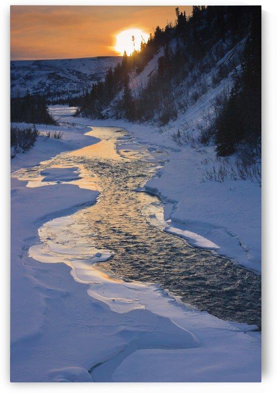 Scenic Sunset In Winter Over Phelan Creek Alongside The Richardson Highway, Interior Alaska by PacificStock