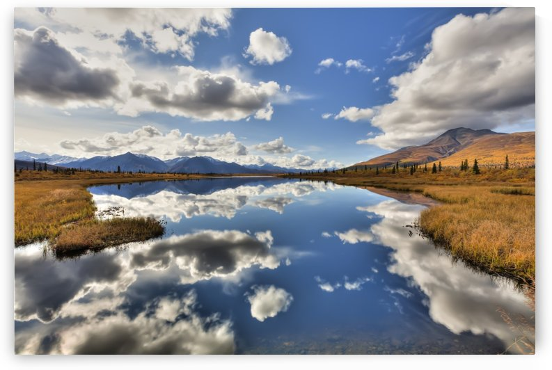 Cloud Reflections On Knob Lake Along Alascom Road Near Sheep Mountain And The Glenn Highway, Southcentral Alaska, Autumn, Hdr by PacificStock