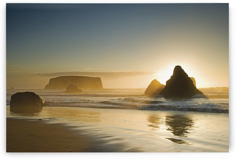 Sunset behind offshore rocks;Bandon oregon united states of america by PacificStock