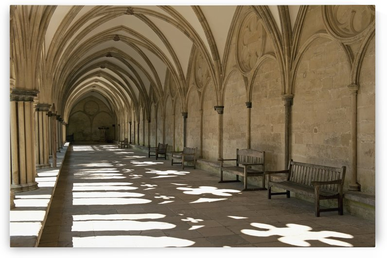 A covered corridor with benches and a dome ceiling;Salisbury england by PacificStock