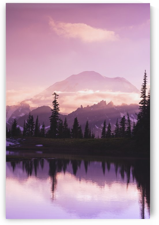 Sunset and a small reflecting pond near tipsoo lake mt. rainer national park near seattle;Washington united states of america by PacificStock