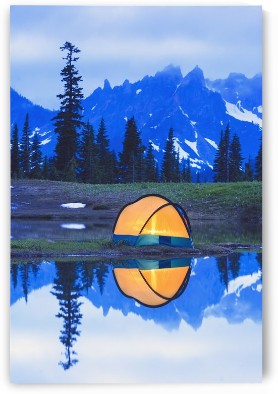 Camping tent at sunset small reflecting pond near tipsoo lake mount rainer national park near seattle;Washington united states of america by PacificStock
